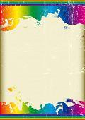 Grunge Regenboogvlag. Een poster met een grote krassen frame en een regenboog achtergrond voor uw publici