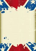 Grunge confederate flag. A poster with a large scratched frame and a grunge confederate flag for you