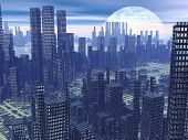stock photo of hazy  - Modern alien futuristic city with lots of high buildings by hazy night with moon - JPG