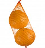 yellow grapefruits hanging  in the mesh bag  isolated on white background