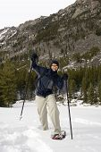picture of beartooth  - snowshoeing up the lake fork in montana - JPG