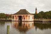 Historic Boathouse And Currituck Beach Lighthouse Near Corolla, North Carolina