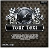 picture of speedometer  - Racing emblem speedometer checkered flags and wheels on black vector illustration - JPG