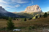 Gardena Valley And Sassolungo (langkofel) In Dolomites