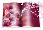 stock photo of zingiber  - book whith the typical tropical rain forest flowers and stars - JPG
