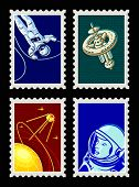 Retro space stamps with sputnik, astronauts and space station