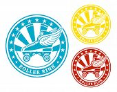 Round roller rink label or sticker in colors isolated