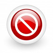 access denied red circle glossy web icon on white background