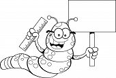 foto of inchworm  - Black and white illustration of an inchworm holding a sign and a ruler - JPG