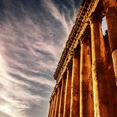 Picture of Baalbek Heliopolis ruins, ancient Lebanon landmark over dark sky, arabian architecture, antique religions building, famous jupiter monument, columns statue, travel and tourism concept