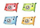 A Colorful Illustration Set Of Video Card