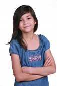 picture of scandinavian descent  - Confident Nine year old girl smiling with arms crossed - JPG