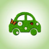 Car icon from grass background