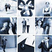 Monochromatische Collage in blau Gamma: Geschäftsleute, Zeit, Geld und Erfolg