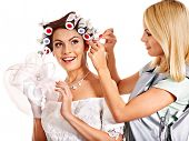 pic of hair curlers  - Woman with hair curlers on head wear in wedding dress  - JPG