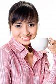 Asian Woman Have A Tea Break