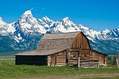 Grand Tetons with old western barn.