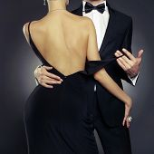 Conceptual photo of sexy elegant couple in the tender passion