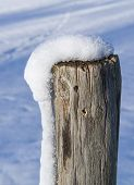 Snowy Wooden Pole