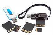 picture of memory stick  - A set of storage memory. On a white background.