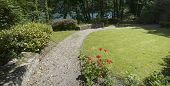 foto of dartmouth  - a footpath in the gardens of dartmouth castle on the estuary of the river dart devon - JPG