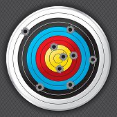 stock photo of shooting-range  - Shooting range target shot full of bullet holes - JPG