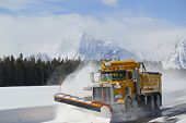 Snow plow truck in Grand Teton National Park