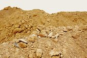 image of loam  - Pile of dry soil at construction site - JPG