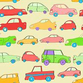 Cute colorful cartoon cars seamless pattern, vector