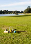 Croquet Set On English Lawn