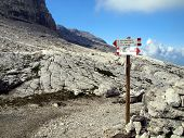 Marking The Path Alfredo Benini In The Brenta Dolomites Mountains In Italy