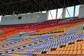 picture of grandstand  - Seat grandstand in an empty stadium   - JPG