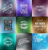 Merry Christmas Vintage retro typo background set  for your greetings or invitation covers.