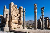 image of xerxes  - Ruins of ancient Persepolis Iran - JPG