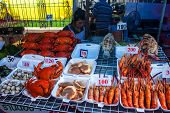 Stall with seafood