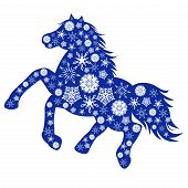 Blue Horse Silhouette With Many Snowflakes