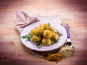 vegetarian meatballs with oat ricotta and curry