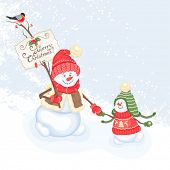 Christmas card with snowman, vector illustration.