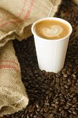 Cappuccino To Go Paper Cup Burlap Bag Roasted Coffee Beans