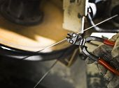 stock photo of wire cutter  - Wire cutter with selective focus - JPG