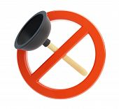 image of plunger  - no plunger 3d Illustrations on a white background - JPG