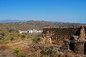 image of pueblo  - Derelict finca with village to rear whitewashed village  - JPG