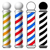 picture of barber  - illustration of barber shop pole set vector - JPG