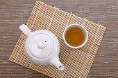 Healthful Green Tea And Teapot