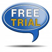 free trial test sample icon or label. Product promotion or advert