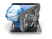 Internet security. Laptop and opening safe deposit box's door. 3d