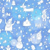 Stylish seamless pattern with Christmas elements: santa claus, snowman, tree, gingerbread man, dachs