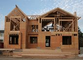 stock photo of 2x4  - New house under construction - JPG