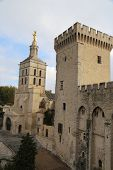 The Notre Dame des Doms cathedral and Palais Des Papes in Avignon, France