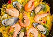 Paella -traditional spanish dish background
